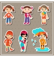 Stickers with little girls vector image
