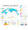 world map with set of infographics elements big vector image