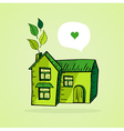 Hand drawn green house vector image