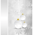 Christmas card with silver decorated balls vector image vector image