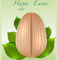 Easter Egg on spring leaves vector image