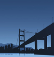 The big city and the bridge on a blue background vector image