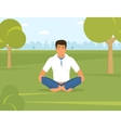Man is doing yoga and sitting in the lotus vector image