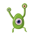 Green one eye alien monster icon cartoon style vector image