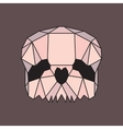 Pink and beige low poly skull vector image