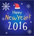 New Year Christmas poster card red Santa hat vector image