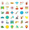 summer travel icons set cartoon style vector image