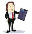 Businessman pointing to the screen of a tablet-pc vector image