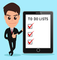 Businessman shows to do lists on tablet screen vector image