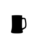 black silhouette beer mug isolated on white vector image