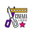 cinema logo template creative design vector image