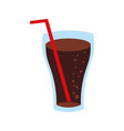 fast food glass cup cola drink bubbles vector image
