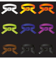 karate do martial arts color belts icons set eps10 vector image