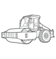 Road Roller outline Asphal paver vector image