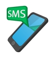 Smartphone with message bubble cartoon icon vector image