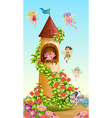 Fairies flying around tower vector image