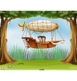 An airship at the forest vector image vector image
