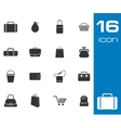 black bag icons set on white background vector image