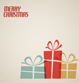 Retro Christmas card with christmas presents vector image vector image