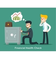 Businessman check financial or money health with vector image
