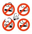 Cigarette icons set No Smoking prohibition sign vector image