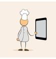 cartoon chef with menu tablet vector image vector image