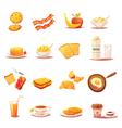 Classic Breakfast Elements Retro Icons Set vector image