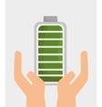 hand holds battery ecology icon graphic design vector image