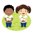 kids holding young plant vector image