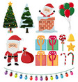 santa and christmas elements on white background vector image