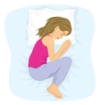 woman sleeping in the fetal position vector image