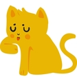 Yellow Cat Licking Paw vector image