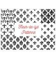 Victorian fleur-de-lis seamless patterns set vector image