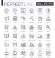 real estate thin line web icons set outline vector image