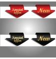 Discount labels bent around paper edge vector image