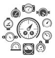 black meter icons set vector image