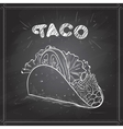 Taco scetch on a black board vector image