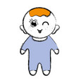 cute baby boy with hairstyle and clothes vector image