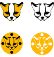 images ocelot head black and yellow silhouette vector image