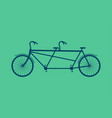 tandem bicycle isolated vintage bike on green vector image