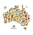 australian map with icons set sketch for your vector image