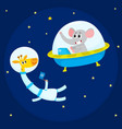 cute animal astronauts spacemen elephant in vector image