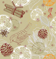 Doodle background with citrus bird and snowflakes vector image