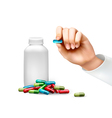 Hand holding a pill and a bottle of pills vector image