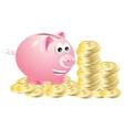 Piggy bank which enjoys gold coins vector image