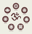 Chakra icon set elements and om calligraphy vector image