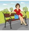 beautiful young model sitting on a bench vector image