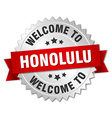 Honolulu 3d silver badge with red ribbon vector image