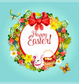 easter floral wreath frame for festive card design vector image