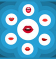 flat icon mouth set of tongue mouth kiss and vector image